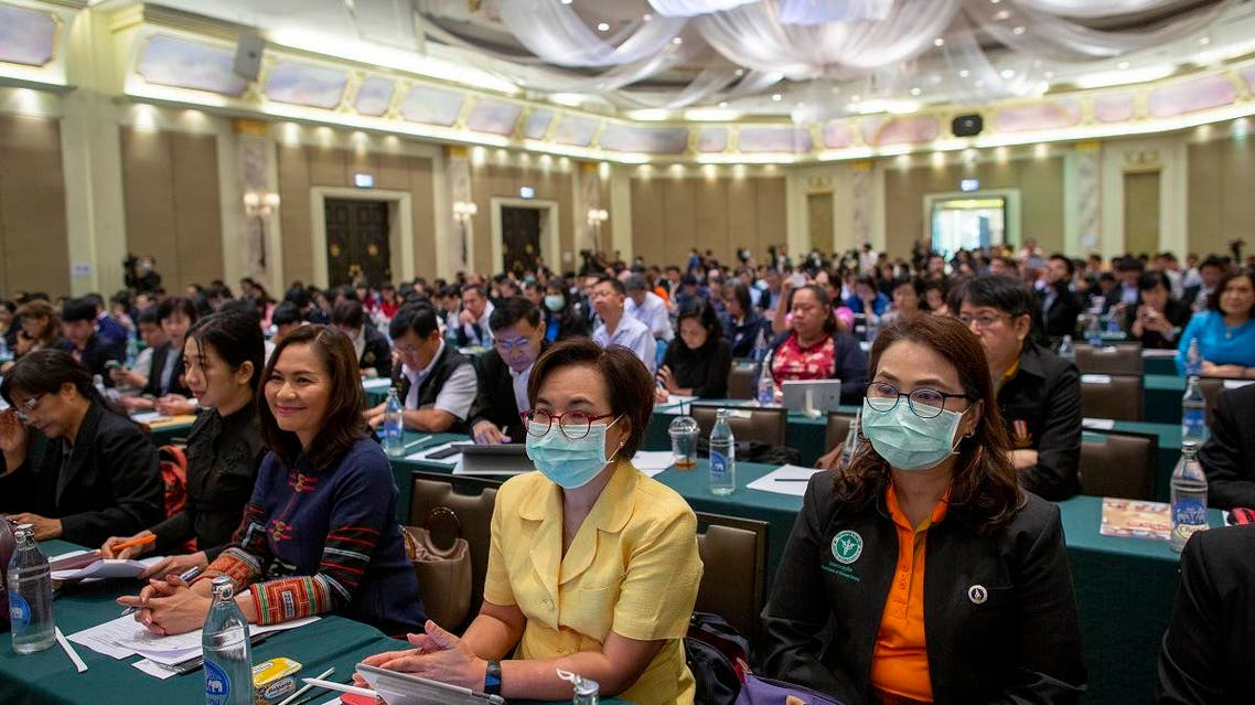 Hospital directors and provincial public health officials gather to participate in a medical preparedness meeting to face the threat of new coronavirus outbreak in Bangkok, Thailand, on January 30, 2020. (AP)