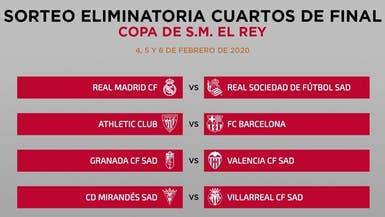 برشلونة يواجه بلباو وريال مدريد يصطدم بسوسييداد في ربع نهائي الكأس