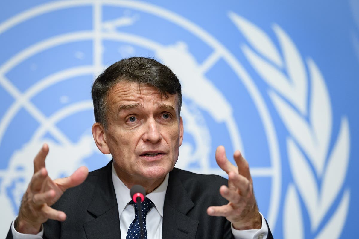 United Nations Relief and Works Agency for Palestine Refugees in the Near East (UNRWA) Acting Commissioner-General Christian Saunders attends a press conference at the United Nations offices in Geneva, on January 31, 2020. (AFP)