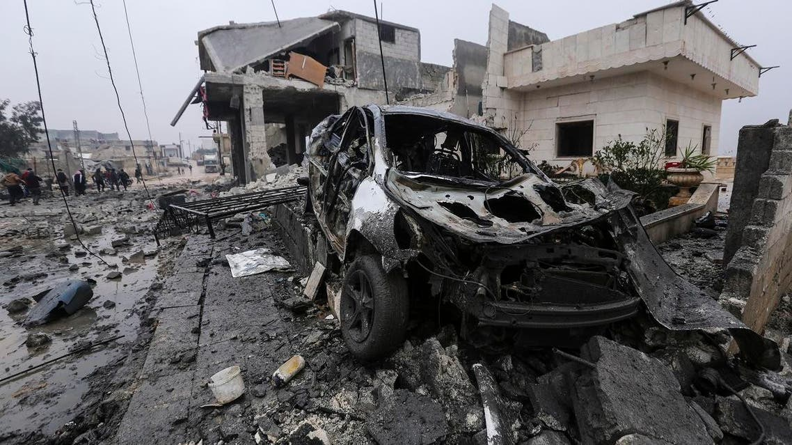 Destruction by an airstrike is seen in the town of al-Jannah, west of Aleppo, Syria, Monday, Jan. 20, 2020. (File photo: AP)