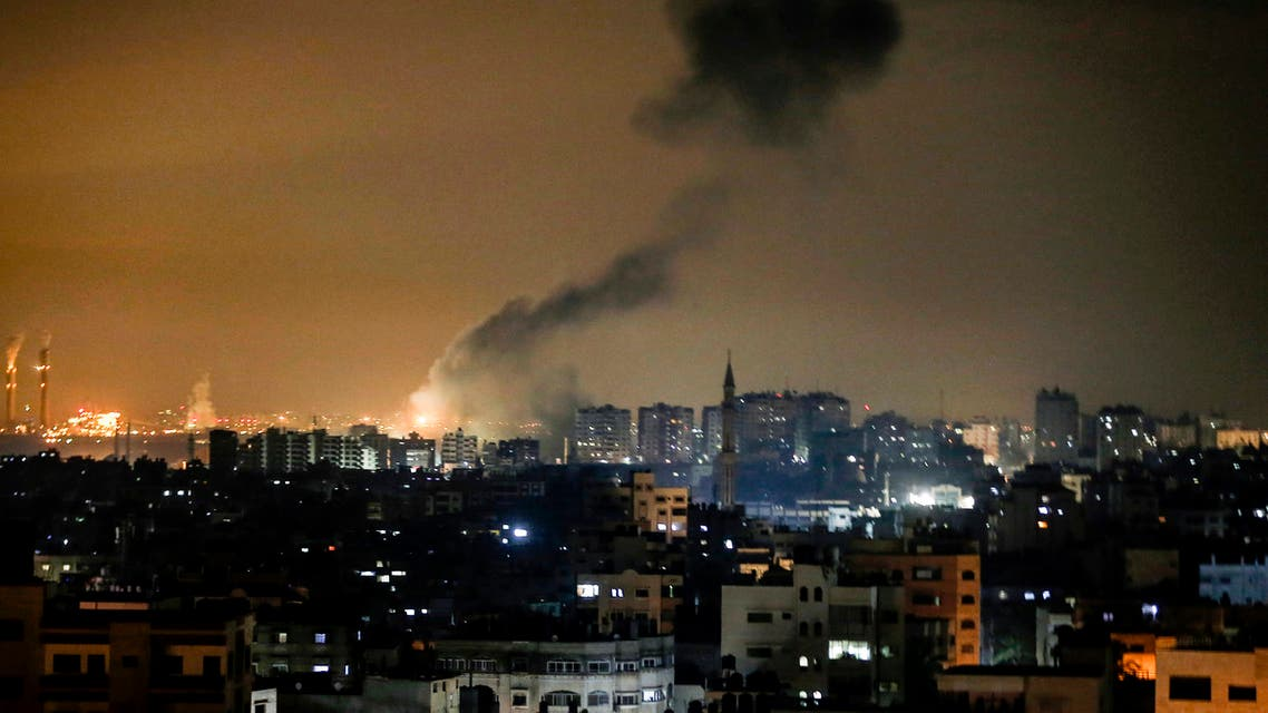 Smoke rises following an Israeli airstrike on Gaza City on January 15, 2020. The Israeli military said four rockets were fired from Hamas-controlled Gaza, the first since Israel's ally the US killed top Iranian general Qasem Soleimani.