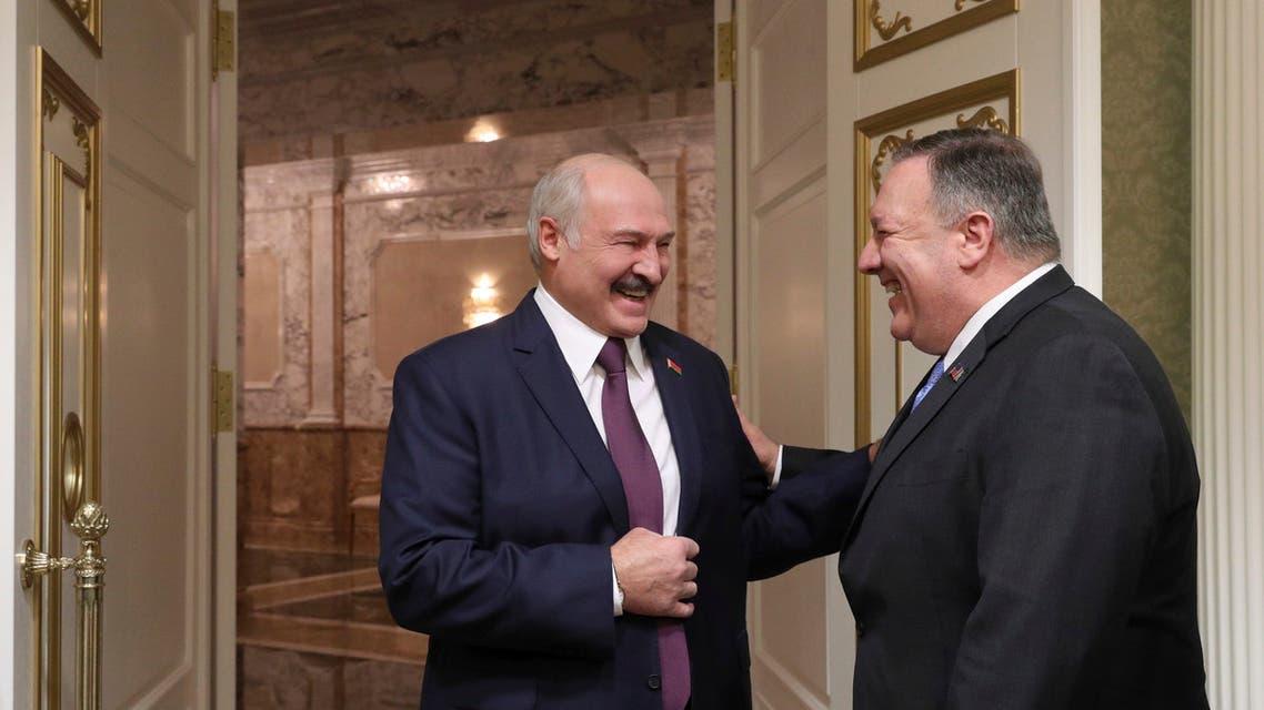 بومبيو مع رئيس بيلاروسيا