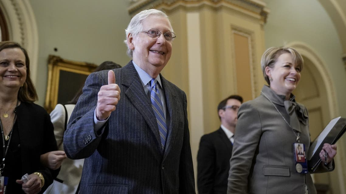 WASHINGTON, DC - JANUARY 31: Senate Majority Leader Mitch McConnell (R-KY) gives the thumbs up as he leaves the Senate chamber after adjourning for the night during the impeachment trial of U.S. President Donald Trump at the U.S. Capitol on January 31, 2020 in Washington, DC. The Senate voted on Friday to block the consideration of additional witnesses and documents, in a 49-51 tally. A final Drew Angerer/Getty Images/AFP