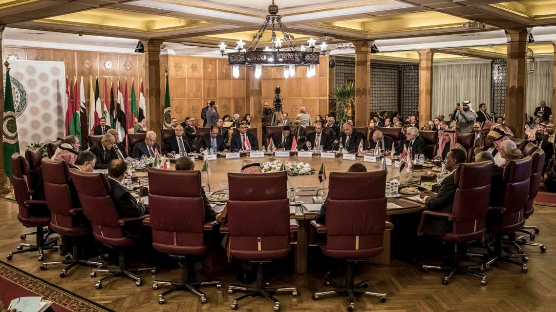 This picture taken on February 1, 2020 shows a view at an Arab League emergency meeting at the league headquarters in the Egyptian capital Cairo. (AFP)