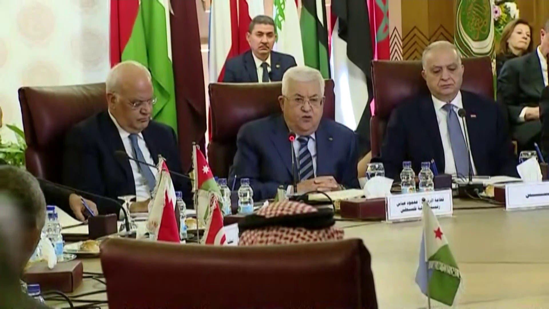 محمود عباس خلال اجتماع الجامعة العربية