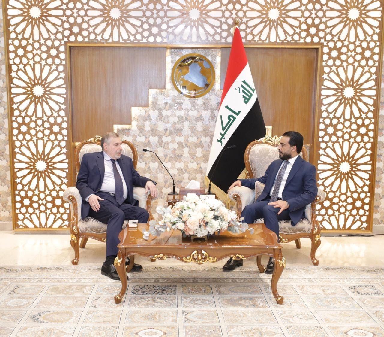 رئيس مجلس النواب محمد الحلبوسي يستقبل رئيس مجلس الوزراء المكلف محمد توفيق علاوي