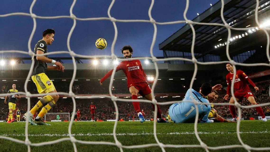 Liverpool's Mohamed Salah scores their fourth goal. (Reuters)
