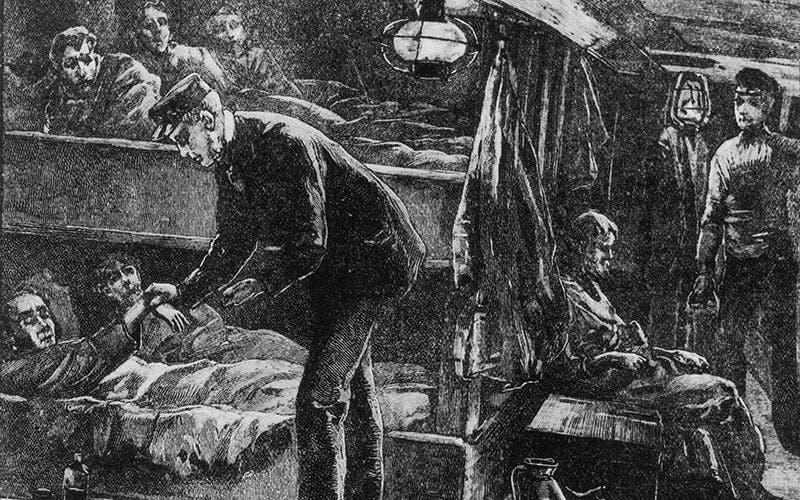 لوحة قيل أنها لراهب ضحى بحياته لتفقد مرضى التيفوس الأيرلنديين