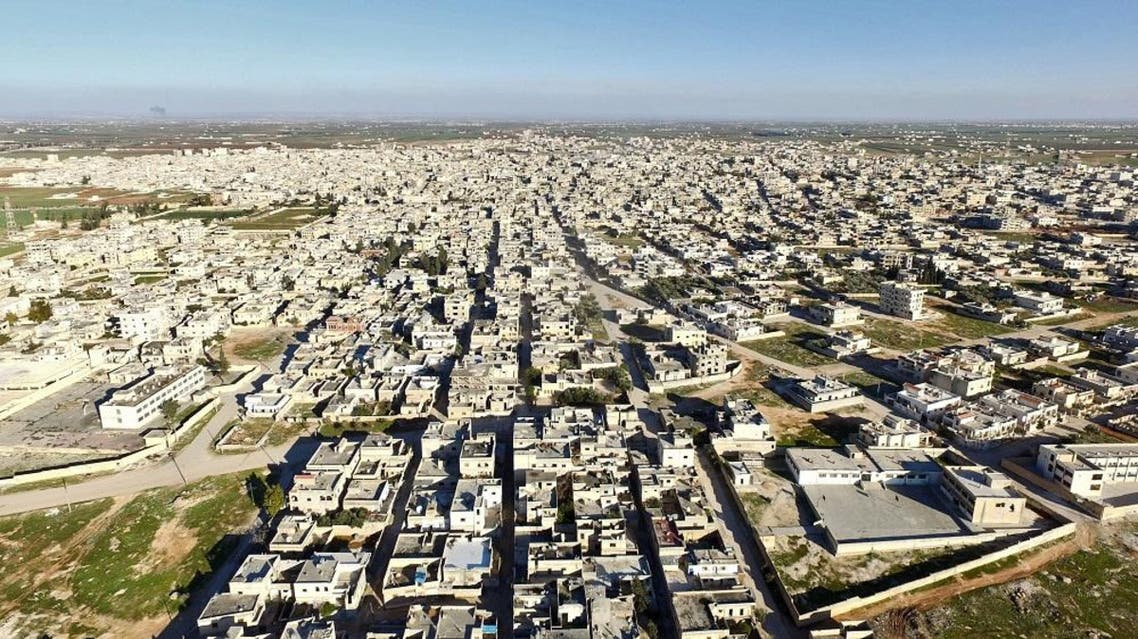 Aerial view of the town of Saraqib. Weeks of deadly bombardment by the Syrian regime and its Russian ally left many of Saraqib's homes defaced or pounded to smithereens. (AFP)