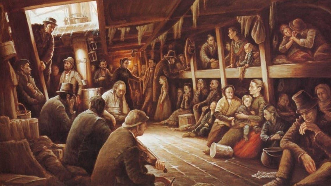 لوحة تجسد معاناة الأيرلنديين على متن السفن التي قادتهم نحو الأراضي الأميركية