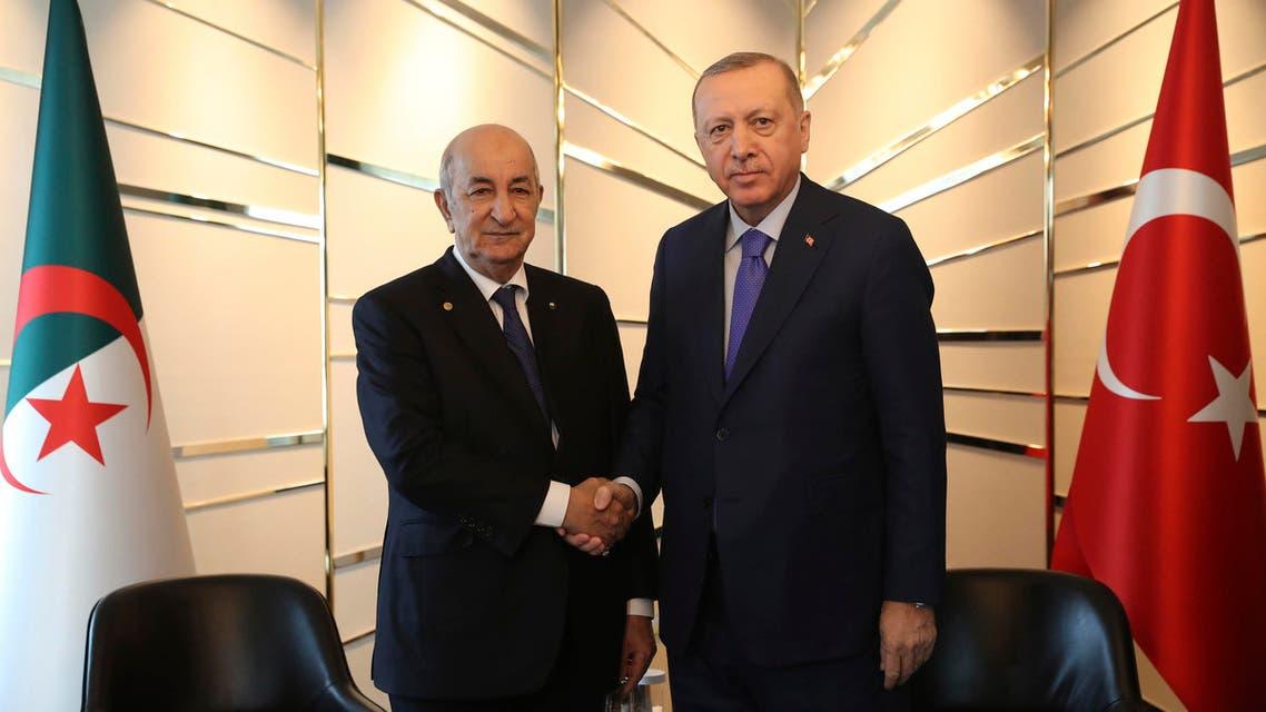 Algerian President Abdelmadjid Tebboune and Turkish President Recep Tayyip Erdogan. (AP)