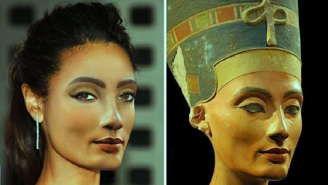 نفرتيتي، في تمثال قبل 3350 سنة، والآن