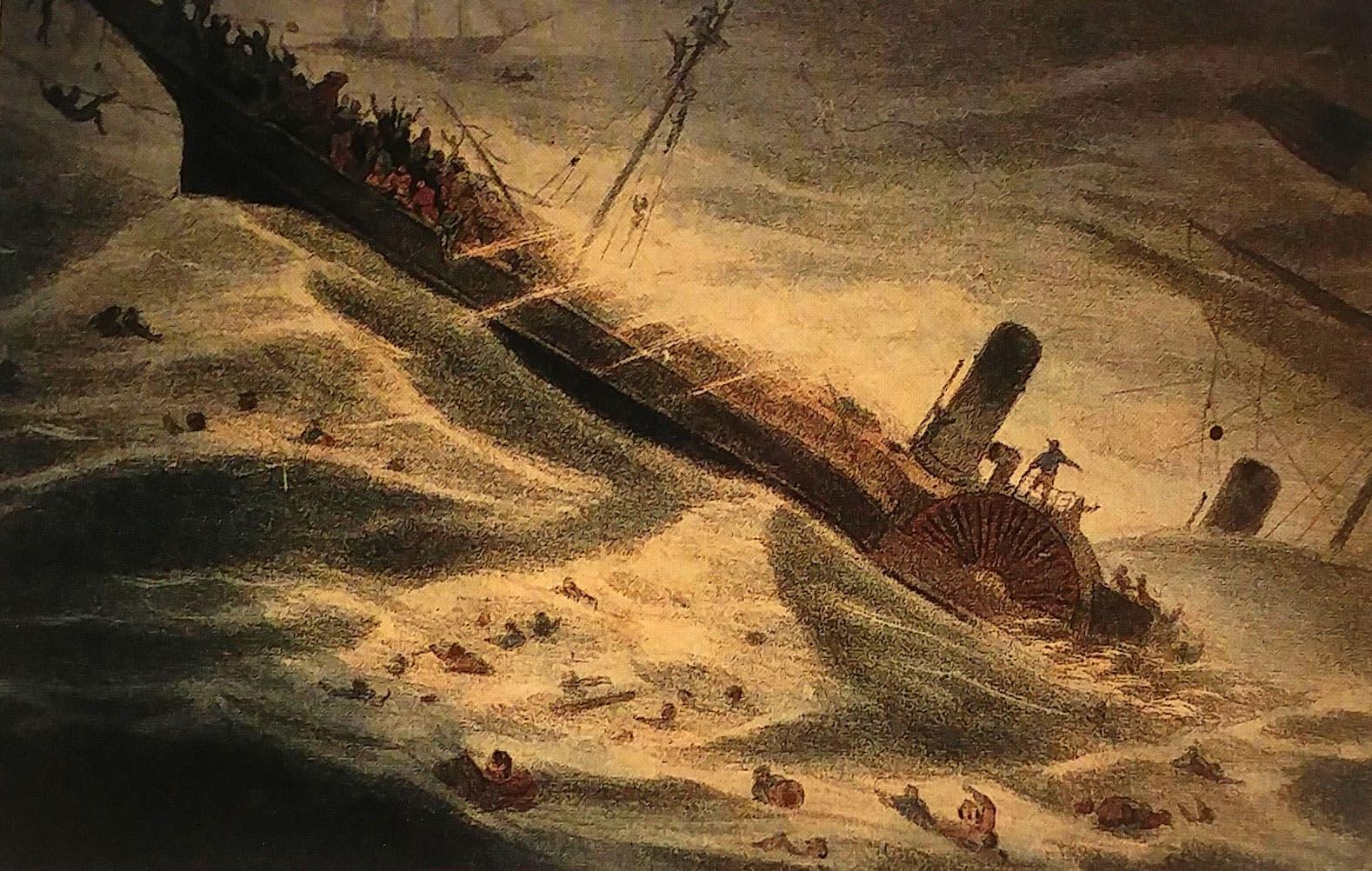رسم تخيلي لحادثة غرق أس اس سنترال أميركا