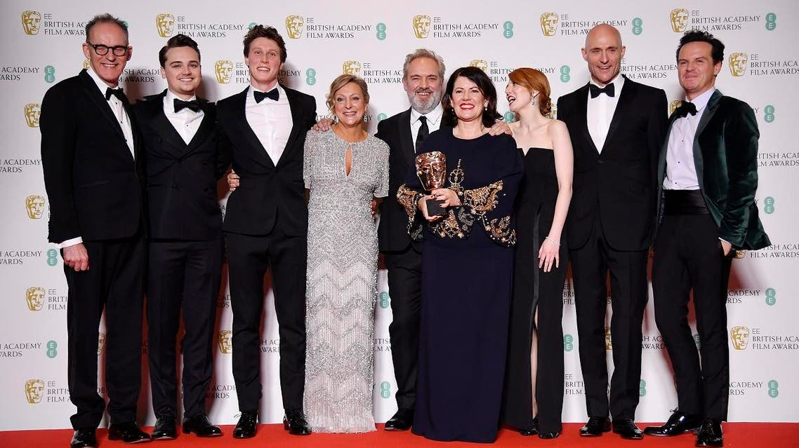 Pippa Harris, Callum McDougall, Sam Mendes, Jayne-Ann Tenggren pose with their award for Best Film for '1917' alongside Dean-Charles Chapman, George MacKay, Mark Strong, Krysty Wilson-Cairns and Andrew Scott at the British Academy of Film and Television Awards (BAFTA) at the Royal Albert Hall in London, Britain. (Reuters)