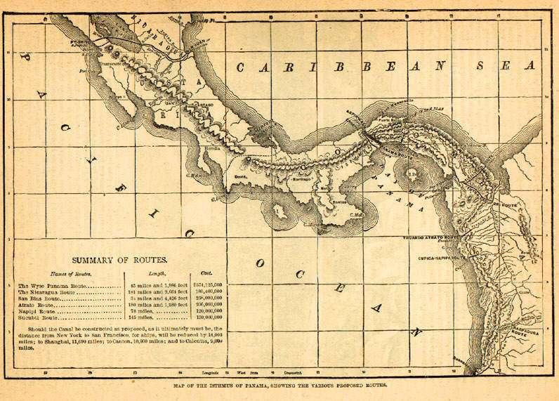 خريطة بنما ويظهر فيها خط السكك الحديدية الذي استخدم لنقل الذهب عبر البرزخ
