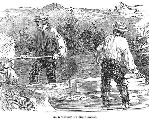رسم تخيلي لعمليات البحث عن الذهب بكاليفورنيا