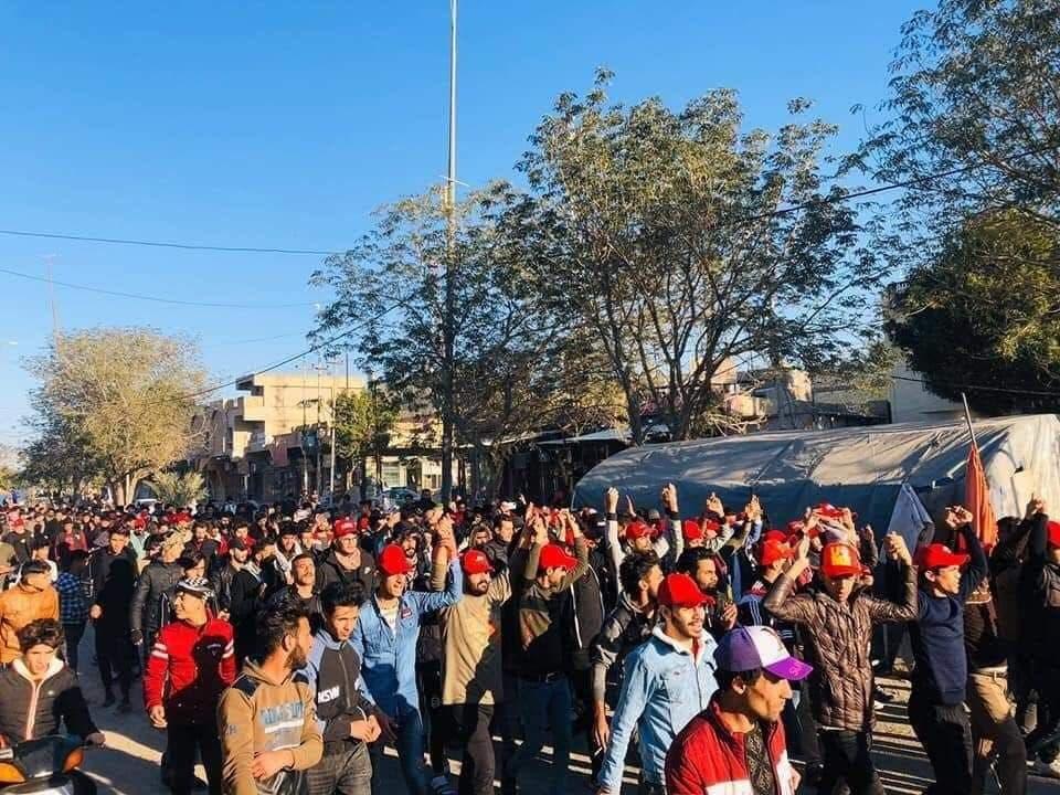 القبعات الحمراء في العراق يوم 3 فبراير 2020 من مواقع التواصل