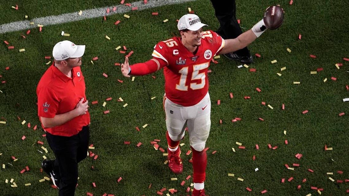 Kansas City Chiefs quarterback Patrick Mahomes (15) raises his arms after his team won the NFL Super Bowl 54 football game against the San Francisco 49ers, Sunday, Feb. 2, 2020. (Photo: AP)