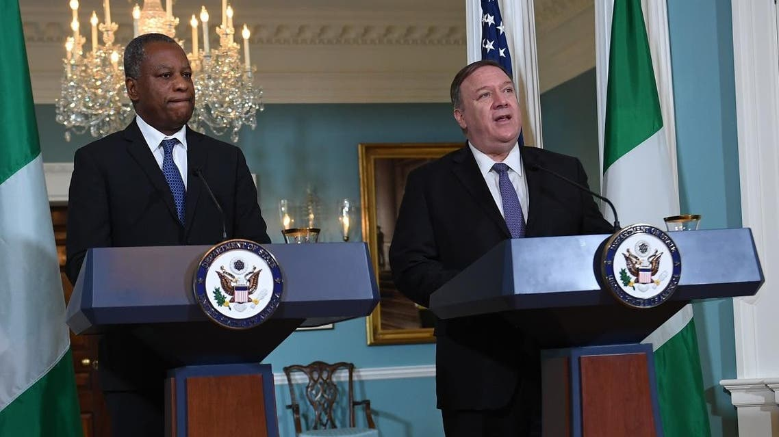 US Secretary of State Mike Pompeo and Nigerian Minister of Foreign Affairs Geoffrey Onyeama deliver statements to the press, at the Department of State on February 4, 2020 in Washington,DC.