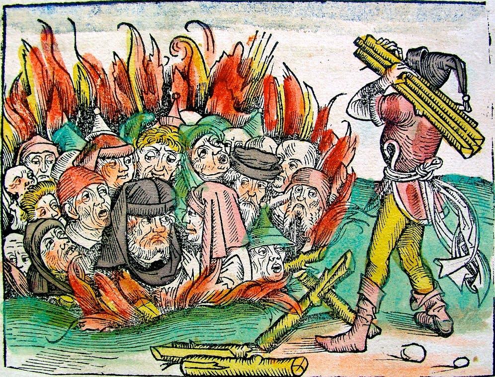 رسم تخيلي يجسد إحدى عمليات إحراق اليهود