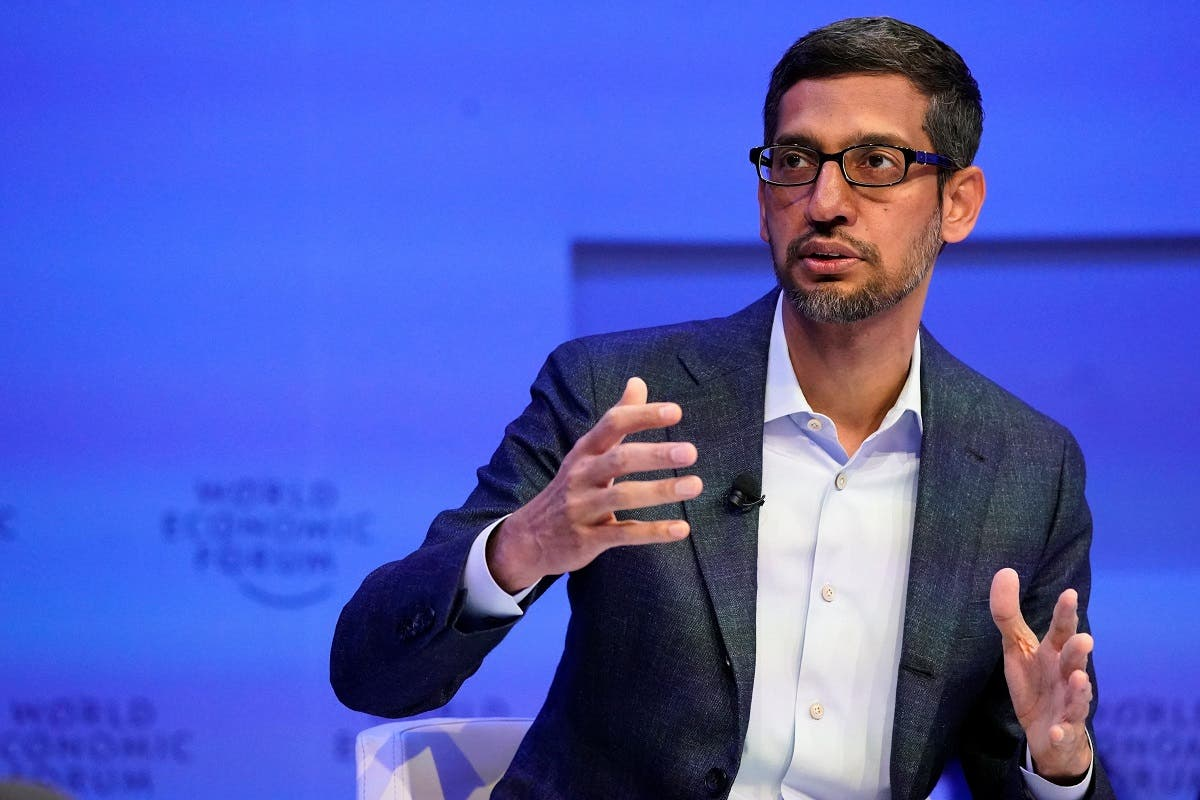 Sundar Pichai, Chief Executive Officer of Alphabet, gestures as he speaks during a session of the 50th World Economic Forum (WEF) annual meeting in Davos, Switzerland, on January 22, 2020. (Reuters)