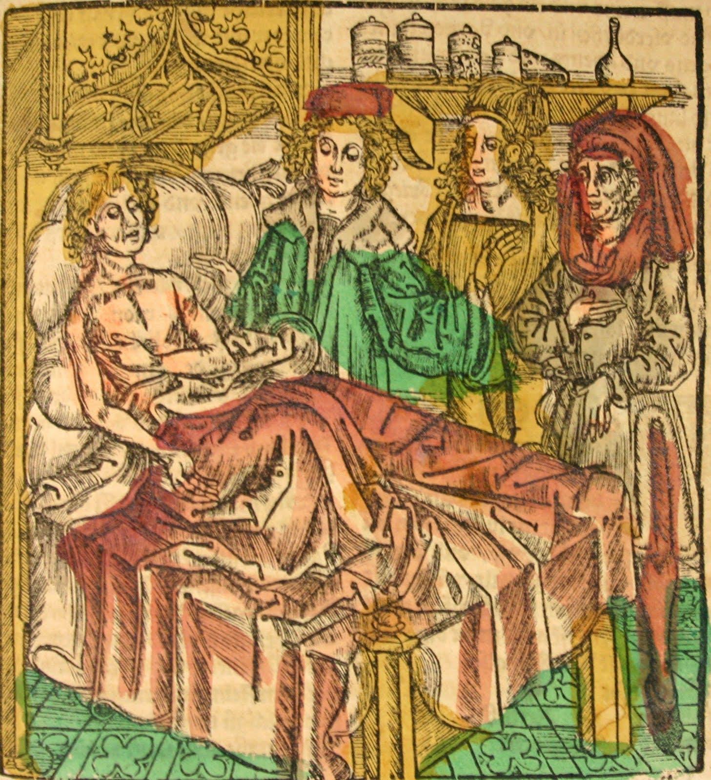 رسم تخيلي يجسد أحد أطباء العصور الوسطى بجوار مريض