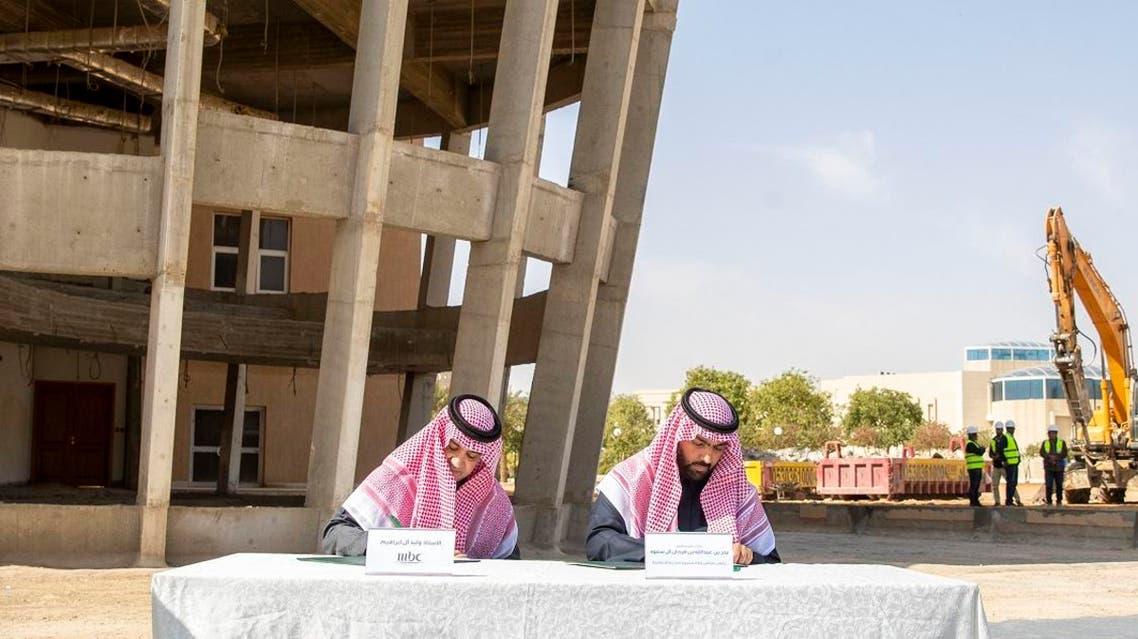 Prince Badr bin Abdullah bin Farhan Al Saud signed an agreement with MBC Group Chairman Sheikh Waleed to establish new headquarters in Riyadh. (Supplied)