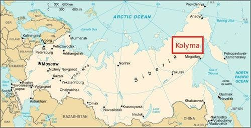 خريطة تقريبية لموقع كوليما بشرق سيبيريا