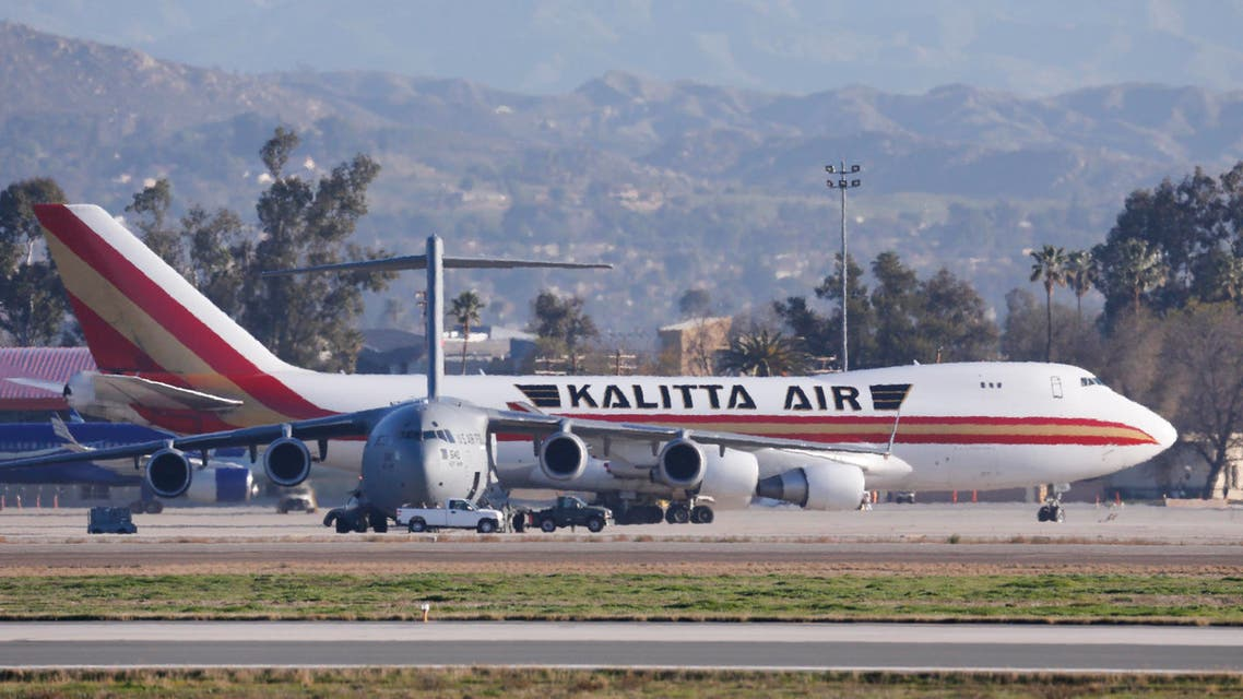 In this Wednesday, Jan. 29, 2020, file photo an airplane carrying U.S. citizens being evacuated from Wuhan, China, lands at March Air Reserve Base in Riverside, Calif. (AP)