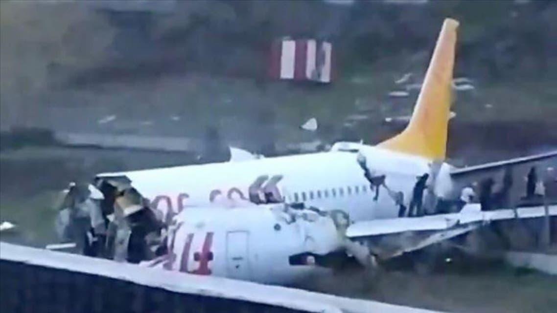دو نیم شدن هواپیما در فرودگاه صبیحه گوکچن