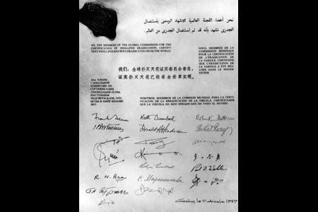 الموقعون العالميون على إعلان استئصال الجدري عام 1979