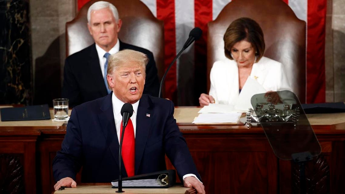 President Donald Trump delivers his State of the Union address to a joint session of Congress on Capitol Hill in Washington, on February 4, 2020, as Vice President Mike Pence and House Speaker Nancy Pelosi, D-Calif., watch. (AP)