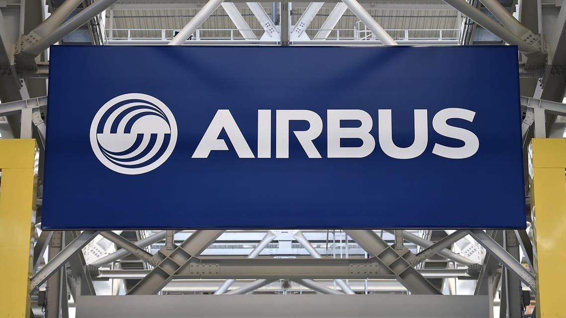 This file photo taken on March 21, 2018 shows a logo at the Airbus A380 assembly site in Blagnac, southern France. (File photo: AFP)