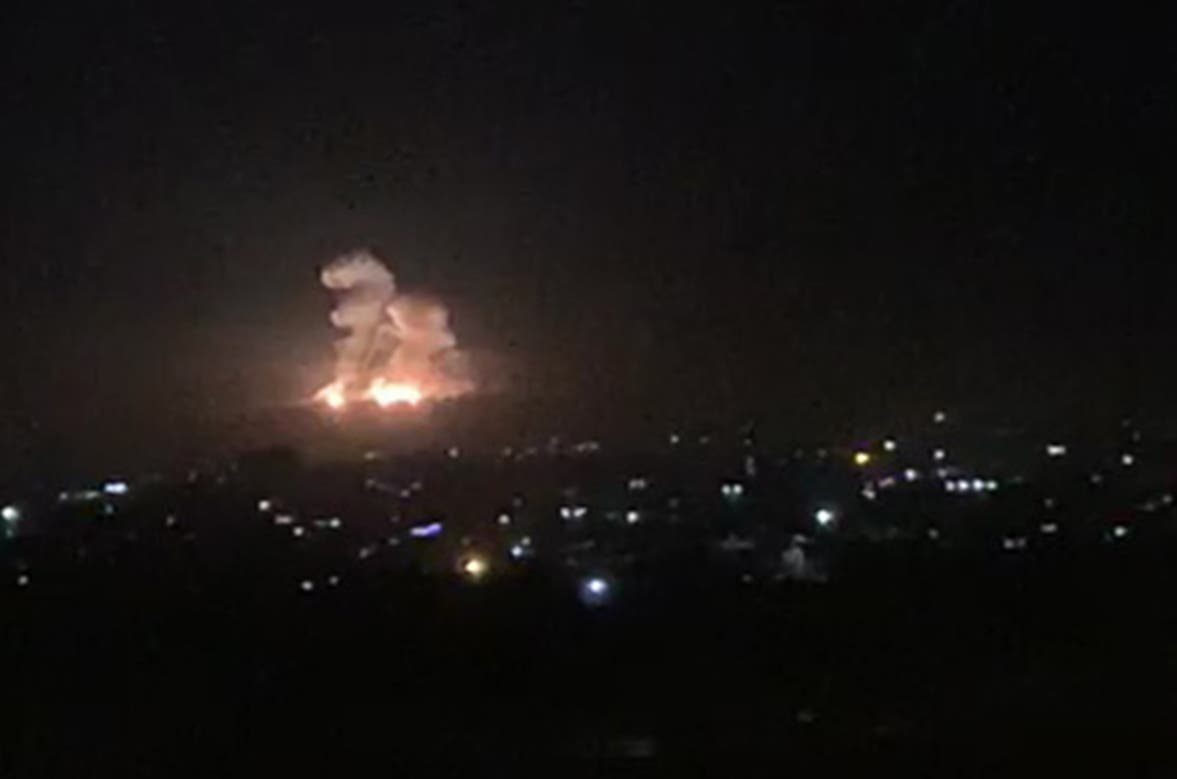 An image grab shows on November 20, 2019 smoke and fire billowing during a reported Israeli air strike on the outskirts of Damascus. The Israeli army confirmed that it carried out strikes against military sites in Damascus today, in response to rocket fire from Syria. (File photo)