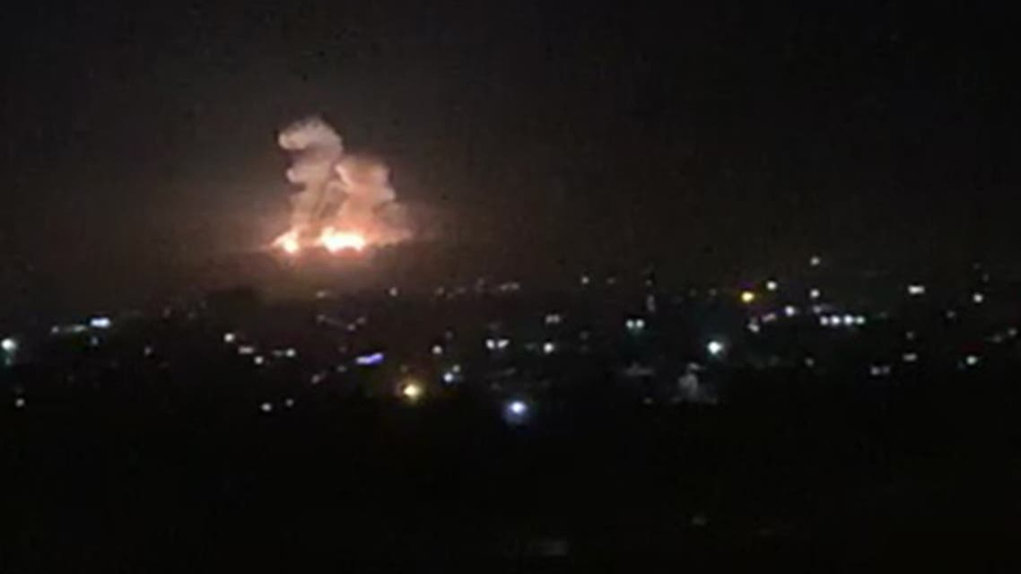 An image grab shows on November 20, 2019 smoke and fire billowing during a reported Israeli air strike on the outskirts of Damascus. The Israeli army confirmed that it carried out strikes against military sites in Damascus today, in response to rocket fire from Syria the previous day. We just carried out wide-scale strikes of Iranian Quds Force & Syrian Armed Forces targets in Syria in response to the rockets fired at Israel by an Iranian force in Syria, the Israel Defense Forces tweeted. Syria's state media earlier said Syrian anti-aircraft defences intercepted a heavy attack by Israeli warplanes over the capital Damascus.
