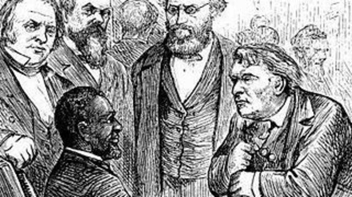 رسم تخيلي للنائب ريفلز وهو محاط بزملائه في الحزب الجمهوري