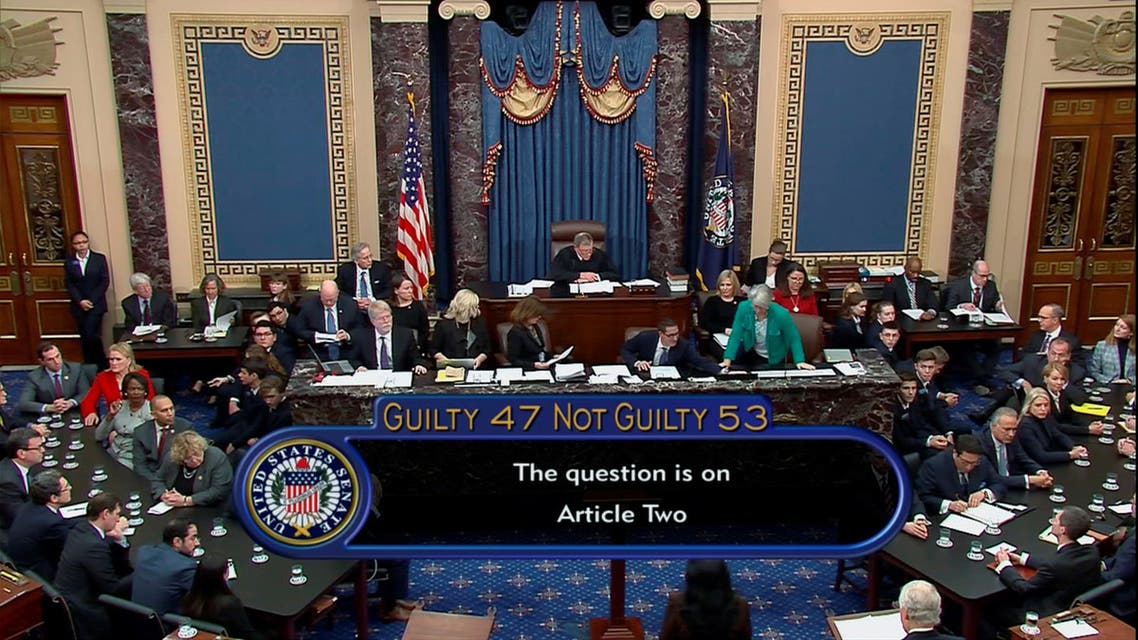 U.S. senators cast their votes on the first article of impeachment abuse of power during the final votes in the Senate impeachment trial of U.S. President Donald Trump in this frame grab from video shot in the Senate Chamber at the U.S. Capitol in Washington, U.S., February 5, 2020. U.S. Senate TV/Handout via Reuters
