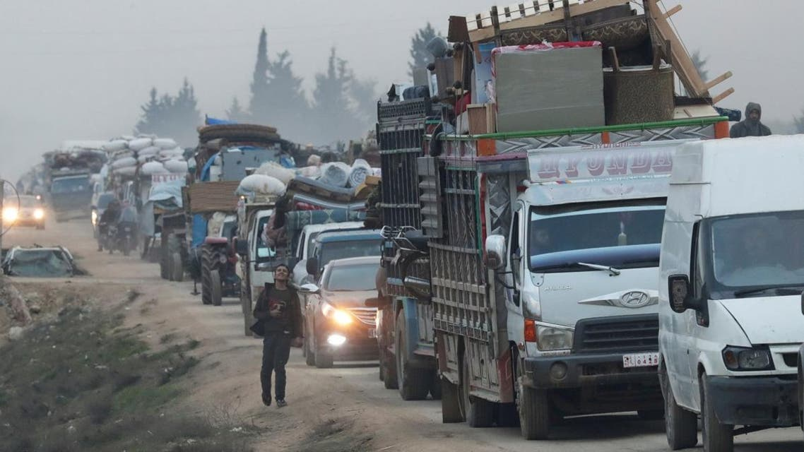 A view of trucks carrying belongings of displaced Syrians, is pictured in the town of Sarmada in Idlib province, Syria, on January 28, 2020. (File photo: Reuters)