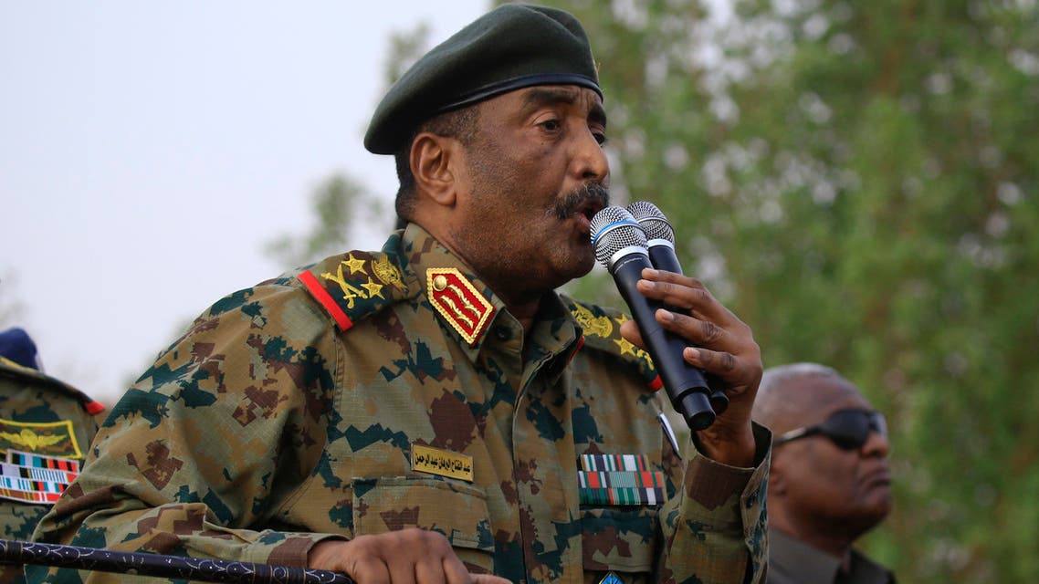 General Abdel Fattah al-Burhan, the head of Sudan's ruling military council, addresses the crowd in Khartoum's twin city of Omdurman on June 29, 2019. Burhan, told a rally in Omdurman, the twin city of Khartoum, that the generals were ready to give up power. We promise you that we will reach an agreement fast with our brothers in the Alliance for Freedom and Change and other political groups, he said. We are ready to cede power today to an elected government that is acceptable to all the people of Sudan.
