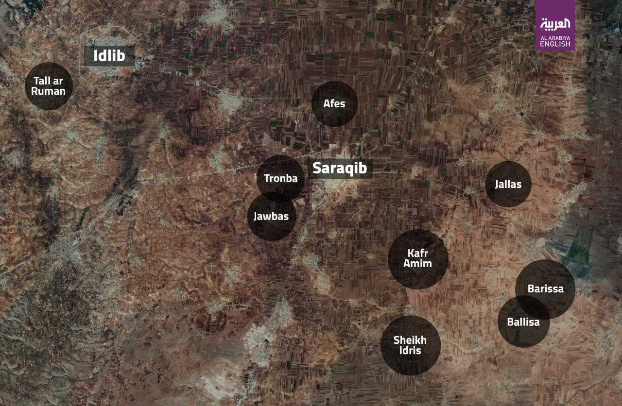 Map shows regime-held towns sourrounding the strategic town of Saraqib in rebel-held Idlib province. (Al Arabiya)