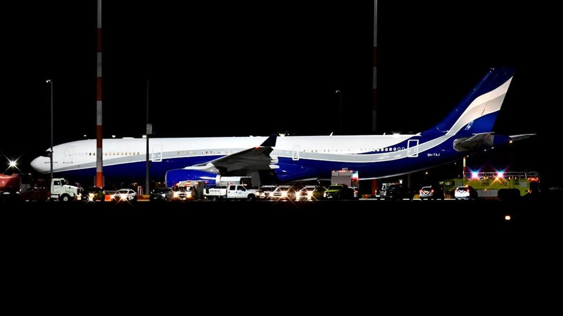 An Airbus A330-300 plane en route to Canadian Forces Base Trenton, carrying Canadians evacuated from China due to the outbreak of novel coronavirus, arrives to refuel at Vancouver International Airport in Richmond, British Columbia. (Reuters)