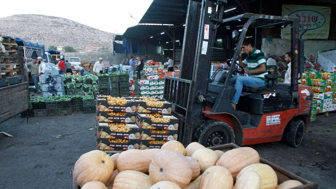 A worker operates a forklift at a wholesale vegetable and fruit market in the West Bank village of Beita, near Nablus September 2, 2012. (File photo: Reuters)