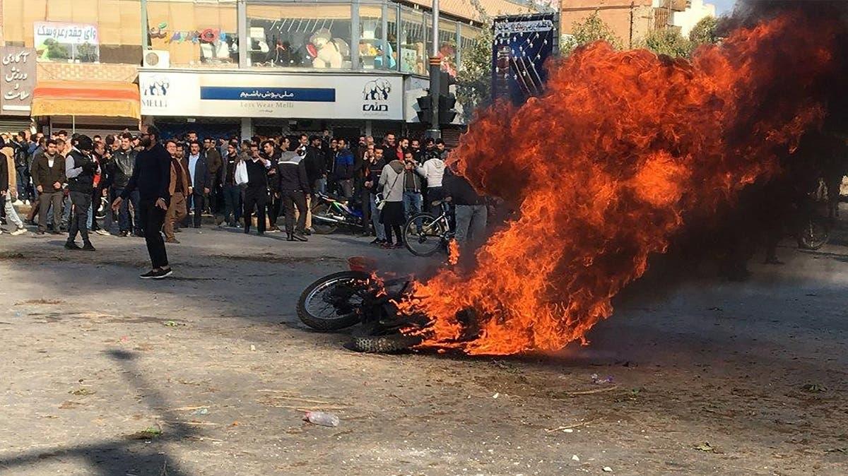 من الاحتجاجات في أصفهان في نوفمبر 2019