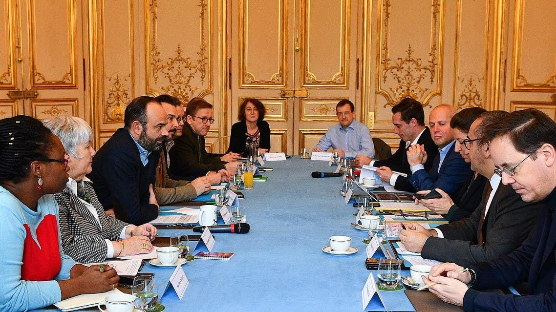 French Health and Solidarity Minister Agnes Buzyn (3rd-R) meets with other ministers in the cabinet to evaluate the situation of the n-Cov 2019 coronavirus on February 8, 2020 at the Hotel Matignon in Paris. (AFP)