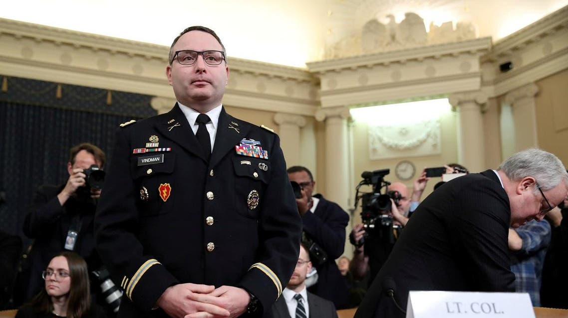 Lt Colonel Vindman testifies at House Intelligence Committee hearing on Trump impeachment inquiry on Capitol Hill in Washington. (Reuters)