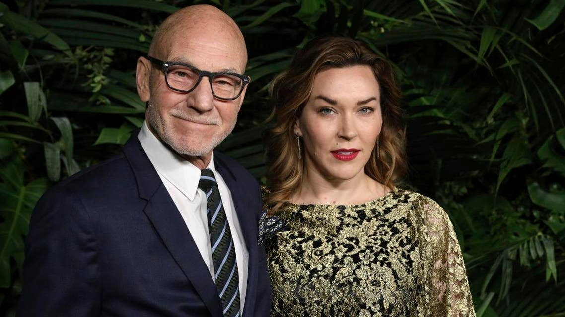 Sir Patrick Stewart, left, and Sunny Ozell arrive at the 2020 Chanel Pre-Oscar Dinner at The Beverly Hills Hotel on Saturday, Feb. 8, 2020, in Beverly Hills, Calif. (AP)