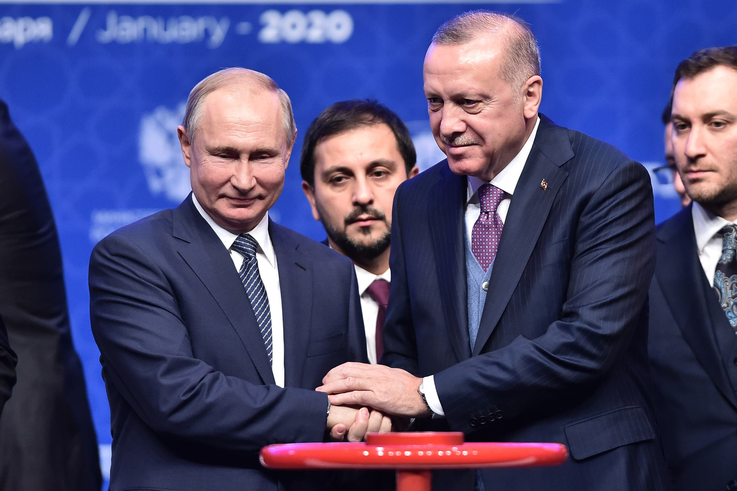 Erdogan and Putin at completion of Turkstream pipeline, Janaury 8, 2020 (AFP)
