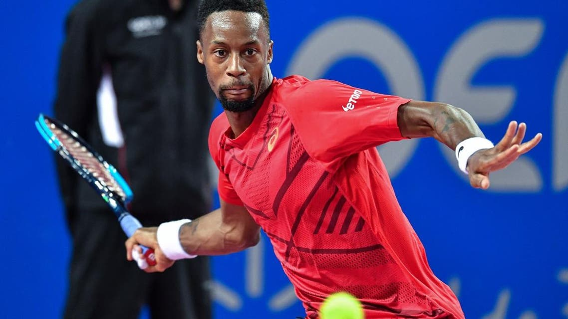 France's Gael Monfils returns the ball to Canada's Vasek Pospisil during their final match at the Open Sud de France ATP World Tour in Montpellier, southern France, on February 9, 2020. (AFP)