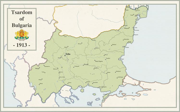 خريطة بلغاريا سنة 1913