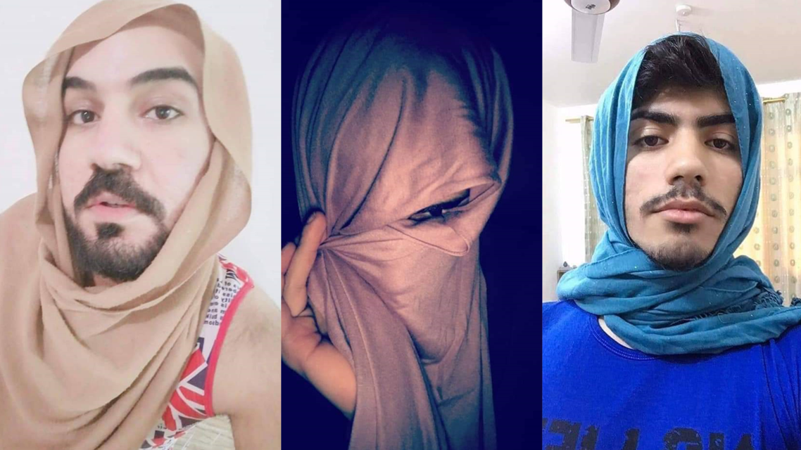 Iraqi men launch their own social media campaign, sharing photos of themselves with headscarves, jokingly disguising themselves as women. (Twitter)